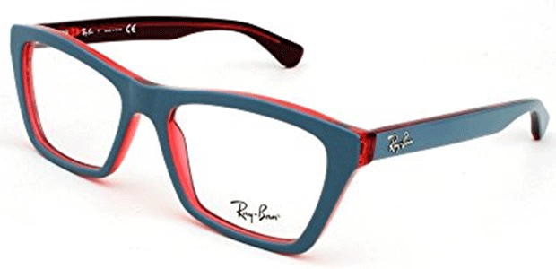 c8cceb5ea1 RayBan Unisex Acetate Grey Red Rectangle Full Rim Frame (Rayban-RB5316-5388)