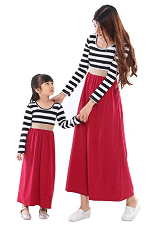Wennikids Mommy and Me Chevron Maxi Dresses