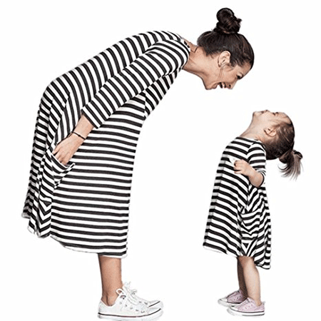YOYORULE Striped Mother and Daughter Casual Dresses