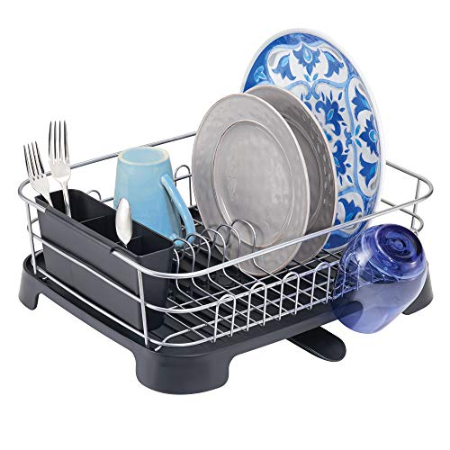 mDesign Large Kitchen Countertop, Sink Dish Drying Rack