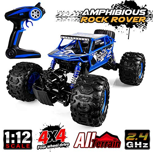 Distianert 1/12 Scale RC Truck 4WD Electric Amphibious RC Car, 2.4GHz 18km/h High Speed Monster Truck, Off-/On- Road Buggy for All Terrain