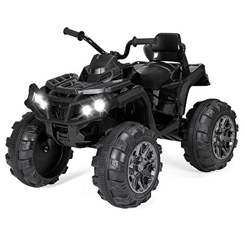 Best Choice Products 12V Kids Battery Powered Electric Rugged 4-Wheeler ATV Quad Ride-On Car Vehicle Toy w/ 3.7mph Max Speed, Reverse Function, Treaded Tires, LED Headlights, AUX Jack, Radio - Black