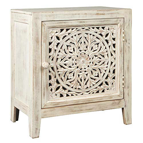 Signature Design by Ashley - Fossil Ridge Accent Cabinet - Carved Detail - Whitewash