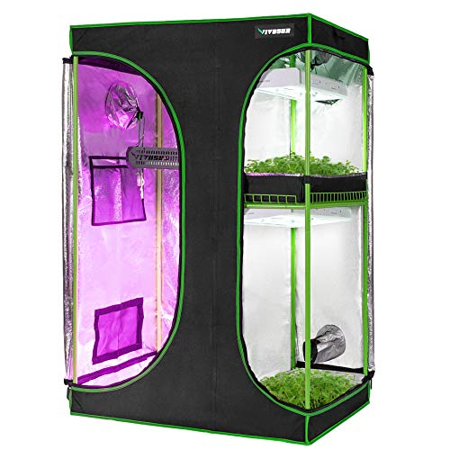 "VIVOSUN 2-in-1 48""x36""x72"" Mylar Reflective Grow Tent"