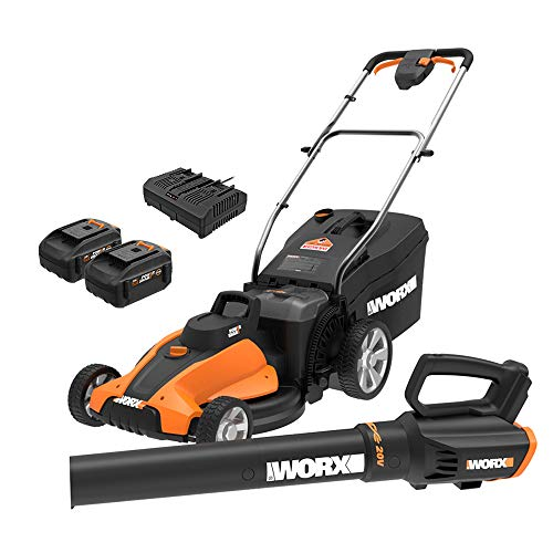 WORX WG959 17inch 40V (4.0Ah) WG744 Cordless Lawn Mower and WG547.9 Power Share Cordless Turbine Blower