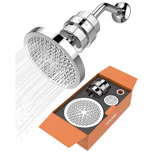 High Output Shower Head and Hard Water Filter by ADOVEL