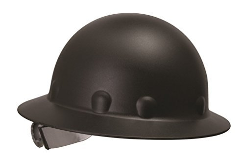 Fibre-Metal by Honeywell P1ARW11A000 Roughneck Full Brim Hard Hat with Strip-Proof and Crack-Proof Ratchet Headgear, Black