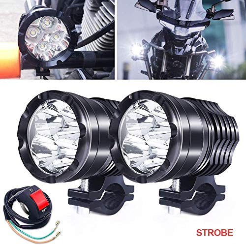 Motorcycle ATV Driving Lights, 2Pcs 40W High/Low/Strobe Spotlights Fog Auxiliary Lights