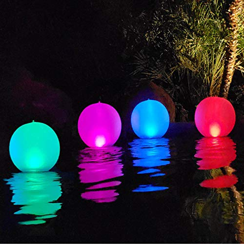 Esuper Floating Ball Pool Light Solar Powered (14 Inch - 4 PCS)