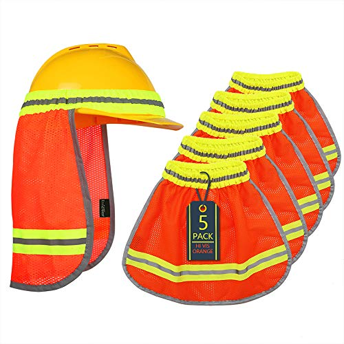 Evridwear High Visibility Neck Sun Shield with Reflective Stripe, Safety Hard Hat Shade