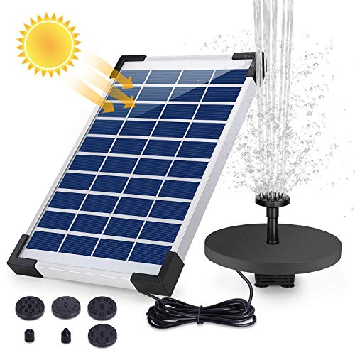 AISITIN 5.5W Solar Fountain Pump, 1500mAh Battery