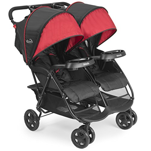 Kolcraft Cloud Plus Lightweight Double Stroller with Reclining Seats & Extendable Canopies