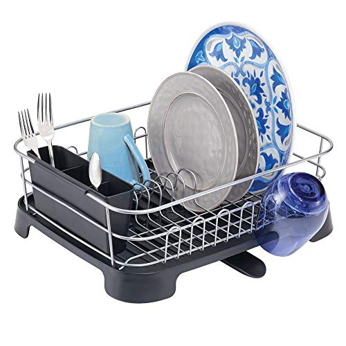mDesign Large Kitchen Countertop, Sink Dish Drying Rack with Removable Cutlery Tray