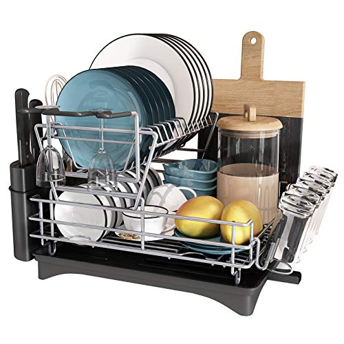 JASIWAY Dish Drying Rack, Professional 2-Tier Stainless Steel Dish Rack