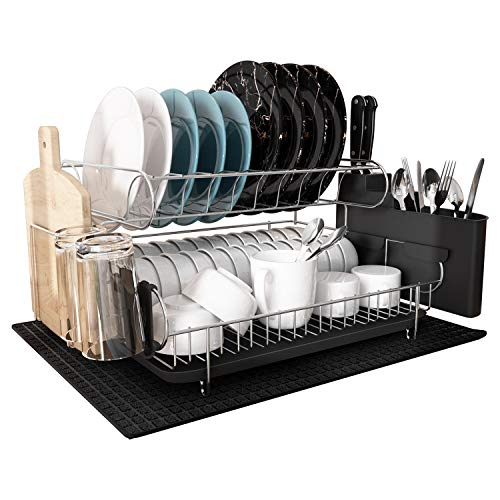 Dish Drying Rack, MAJALiS Large Stainless Steel 2 Tier Dish Rack with Drainboard