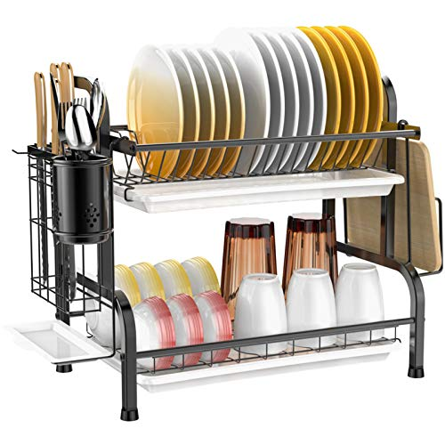 Dish Drying Rack, Veckle 2 Tier Dish Rack 304 Stainless Steel
