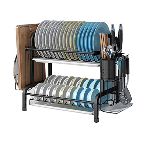 GUCHIS Dish Drying Rack, 2-Tier 304 Stainless Steel Dish Rack